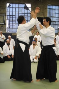 Tohei Sensei with Abel Villacorta Sensei, uke, at National Ki Aikido Conference in Boulder, CO.