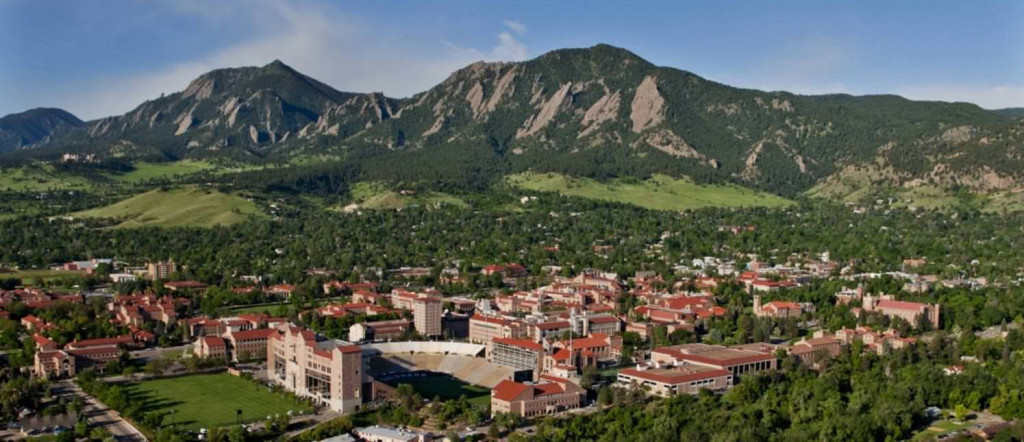 Aerial photo of the University of Colorado Boulder campus. (Photo by Glenn Asakawa/CU-Boulder)
